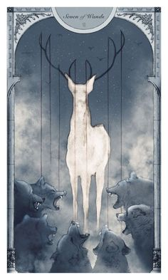 Illustration for SCAD's Tarot Card deck. I got the Seven of Wands.