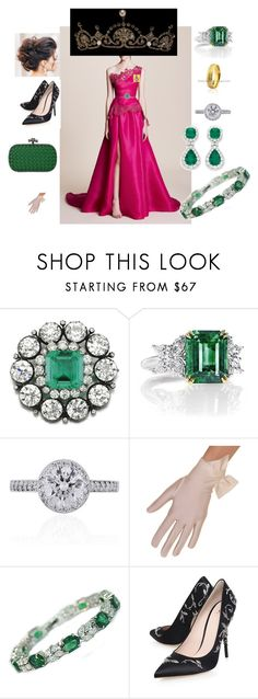 """Reception at the Royals Exhibition Building in H.M honor."" by dezac-novaes on Polyvore featuring moda, Marchesa, Harry Winston, Tiffany & Co., RALPH & RUSSO, Bottega Veneta e Ultimate"