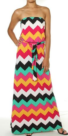 487d6ed7e4 Catch Bliss Boutique - Strapless Chevron Maxi With Waist Tie