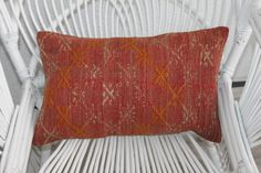 12x20 Coral Kilim Pillow Turkish Kilim by SARIKAYAKILIMPILLOWS