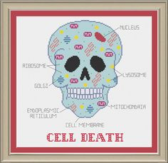 Cell death sugar skull: funny cell biology by nerdylittlestitcher