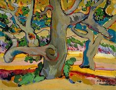 Trees in France, huile sur toile - Emily Carr (Canadian, Tom Thomson, Canadian Painters, Canadian Artists, Emily Carr Paintings, Group Of Seven Paintings, Post Impressionism, Impressionist Paintings, Canada, Landscape Art