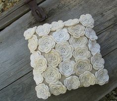 Rose pedal pillow case decoration. no pattern provided. pinned for inspiration.