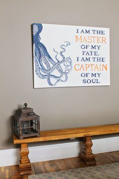 "Nautical Boys Room. Modern beach theme. A bench with lantern is perfect in a childs room. Custom painted art, octopus, ""I am the master of my fate, I am the captain of my soul"". Theraggedwren.blogspot.com"