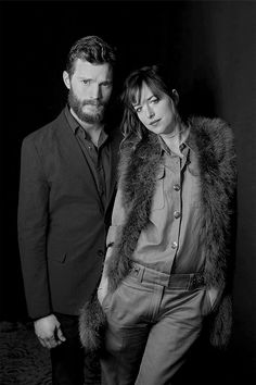 Jamie Dornan and Dakota Johnson look absolutely amazing here. Love black and white pictures of them. They have so many great features that you see better!! 50 Shades of Christian and Ana
