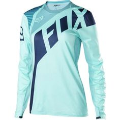 Fox Racing Flexair Jersey - Long-Sleeve ($100) ❤ liked on Polyvore featuring activewear, activewear tops, blue jersey, fox jersey, long sleeve jersey and fox sportswear