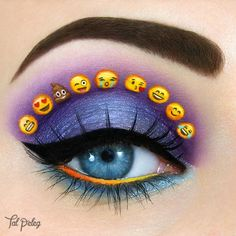 Emoji makeup! ❤ ~~~ MAIN PRODUCTS: Eyelid: @colourpopcosmetics pop rocks, @sugarpill elemental chaos Crease: @sugarpill 2am Emoji emoticons: