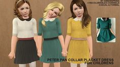 Sims 3 Download: Peter Pan Collar Placket Dress | CHILD | simsinspring »