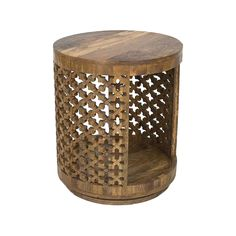Nothing is quite out of grasp with this delightful rotating side table. This gorgeous, round Revolver Wood Side Table is decorated with beautifully hand-carved patterning. Place this table next to your...  Find the Revolver Wood Side Table, as seen in the The Glamorous Globetrotter Collection at http://dotandbo.com/collections/the-glamorous-globetrotter?utm_source=pinterest&utm_medium=organic&db_sku=108665