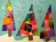 "This is a twist of the lesson ""abstract winter trees"" shown by several bloggers out there.  We started with tissue paper and glue soup (wat..."
