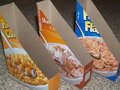 Turn cereal boxes into plastic lid holders.