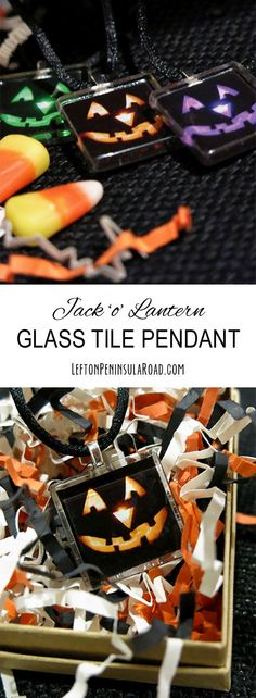 Make a glass tile pendant for Halloween! Easy jewelry craft tutorial.