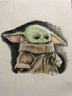 See more 'Baby Yoda' images on Know Your Meme! Cute Disney Drawings, Cool Art Drawings, Realistic Drawings, Art Drawings Sketches, Yoda Drawing, Sad Paintings, Star Wars Cartoon, Cuadros Star Wars, Film Anime