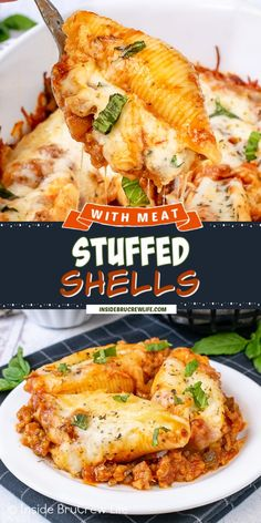 Stuffed Shells with Meat - these stuffed shells have a creamy three cheese filling and are baked in a meat sauce making it a delicious comfort food meal. Make this easy recipe for dinner now or freeze for later. Yummy Pasta Recipes, Easy Chicken Recipes, Casserole Recipes, Meat Recipes, Easy Dinner Recipes, Easy Meals, Cooking Recipes, Healthy Recipes, Sandwich Recipes