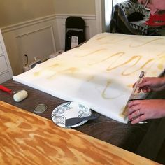 Building a DIY padded headboard for Oldest's room makeover #diy #craftymama