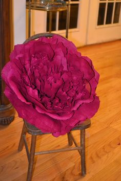 16 inches across. Giant Paper Peony made from Crepe Paper Valentine by saved by etsy.com/shop/OnceUponaTimeCo