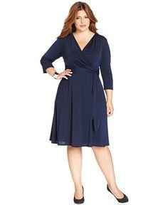 NY Collection Plus Size Faux-Wrap Dress - Dresses - Plus Sizes - Macy's