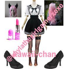 minecraft dairies kawaii-chan by kaylathegirlgamerxoxo on Polyvore featuring Leg Avenue, Chicnova Fashion, Ellie, Lime Crime and Cotton Candy