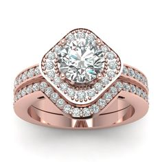 Square Round Halo Bridal Women Wedding Rings with Diamonds in 18K Rose Gold exclusively styled by Fascinating Diamonds