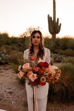 This Saguaro National Park East Wedding Inspo Features All the Colors of the Desert Sunset in 2020 Sunset Wedding, Elope Wedding, Boho Wedding, Floral Wedding, Fall Wedding, Wedding Colors, Wedding Bouquets, Wedding Flowers, Dream Wedding