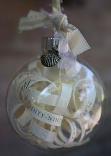 A wedding invitation, cut into strips and placed in a glass ball.  Great DIY idea...