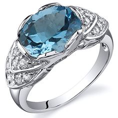 Classy Brilliance 275 carats Swiss Blue Topaz Cocktail Ring in Sterling Silver Rhodium Nickel Finish Size 8 * Read more reviews of the product by visiting the link on the image.