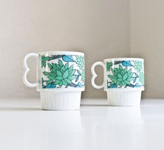 Vintage Retro Floral Stackable Mugs by kibster on Etsy, $15.00