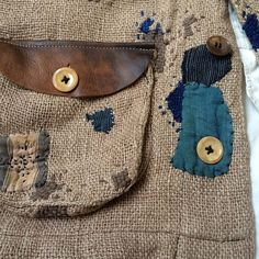 Patches, spots, stains | Stitch detail | Buttons | Pocket leather top | Raw…