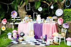 Colorful partyscape from Vintage Alice in Wonderland Birthday Tea Party at Kara's Party Ideas. See more at karaspartyideas.com!