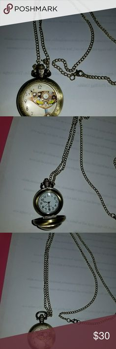 "WATCH STEAM PUNK CAT GOLD COLORED WATCH ON A 40"" CHAIN. NEW, NEVER WORN LOVELY!! QUARTZ Other"