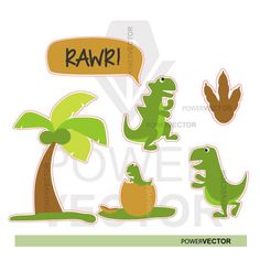 Funny stickers Dinosaur Set stickers Dinosaur by PowerVector Family Clipart, Dinosaur Silhouette, Stock Illustrations, Dinosaur Funny, Baby Dinosaurs, Funny Stickers, Eps Vector, It's Your Birthday, Birthday Party Invitations