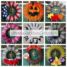 Browse unique items from GlitterGlassAndSass on Etsy, a global marketplace of handmade, vintage and creative goods. Fall Crafts, Holiday Crafts, Diy And Crafts, Wreath Crafts, Diy Wreath, Clothes Pin Wreath, Dollar Tree Crafts, Deco Mesh Wreaths, How To Make Wreaths