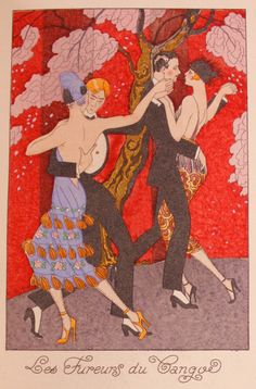 Les Fureurs du Tango (1919). George Barbier (French, 1882-1932). Published in the 1920 volume of La Guirlande Des Mois. In the France that e...