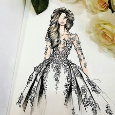 How to Draw a Fashionable Dress - Drawing On Demand Wedding Dress Sketches, Dress Design Sketches, Fashion Design Sketchbook, Fashion Design Drawings, Fashion Sketches, Fashion Drawing Dresses, Fashion Illustration Dresses, Dress Illustration, Vestidos Fashion