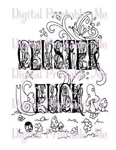 Swear Word Coloring Sheet Page Printable Clusterfck Download Book Curse Cuss Mature Adult Colouring Words