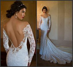 Berta Wedding Dresses Mermaid 2015 Cheap Lace Long Sleeve Sheer Bridal Dress Sexy Vintage Off the Shoulder Spring Backless Ball Gowns Beach