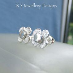 Textured Rustic Flowers - Sterling Silver Stud Earrings - Metalwork Flower Studs £24.00