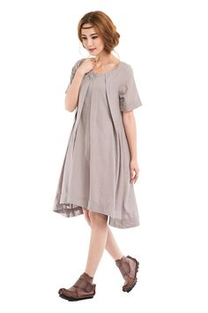 The feeling is mutual/Womens Clothing Plus Size Petite Maternity Day Party Prom Casual Sundress Handmade Summer Chic Linen Dress KL039D