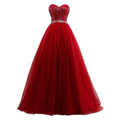 Lowime Women's Ball Gown Tulle Quinceanera Dresses 2016 Prom Gowns ❤ liked on Polyvore featuring dresses, gowns, tulle dress, prom dresses, red gown, tulle gown and quinceanera dresses