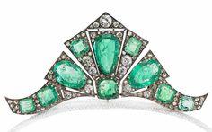 An art deco emerald and diamond tiara/brooch/double-clip combination, circa 1935