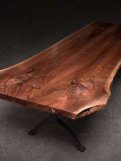 Reclaimed wood with a live edge gives this stately dining table a refined rustic accent. Live Edge Furniture, Find Furniture, Rustic Furniture, Slab Table, Dining Room Table, Dining Rooms, Solid Wood Table, Live Edge Wood, Family Room Design