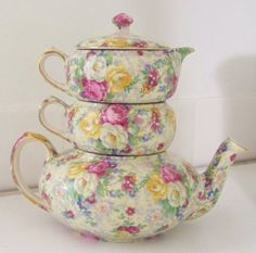 Chintz Lord Nelson Rose Time Tea for 2. Tea Po,t Creamer & Sugar bowl Stacking Set.