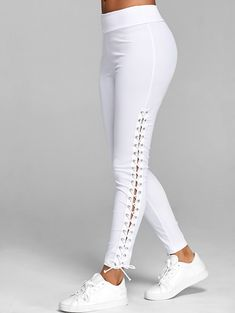 Lace Up Elastic Waist Leggings Fashion Clothing Site with greatest number of Latest casual style Dresses as well as other categories such as men kids swimwear at a affordable price. Legging Outfits, Leggings Fashion, Fashion Pants, Fashion Outfits, Womens Fashion, Fashion Site, Cheap Fashion, Fashion Clothes, Fashion Online