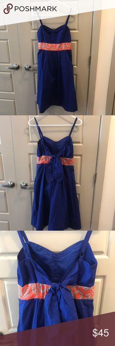 Anthropologie Tie Back Sundress Blue sundress from Anthropologie with a cute bow detail around back. Bow ties top so great for various chest sizes! Anthropologie Dresses