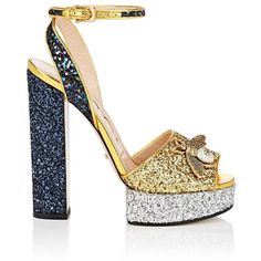 Gucci Women's Soko Glitter Platform Sandals ($980) ❤ liked on Polyvore featuring shoes, sandals, gucci sandals, navy sandals, glitter sandals, chunky heel sandals and navy leather sandals