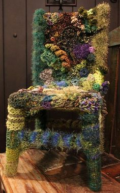 All I can say is WOW ... not sure I'd want to do this exactly but ... seeing as I have a few thousand skeins or more of fancy fibers, I'm always looking for ideas on how to possibly use them ... very interesting concept!