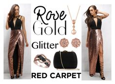 """Red Carpet Look- Rose Gold Glitter"" by ahsoka-star-wars ❤ liked on Polyvore featuring Rare London, Carolee, LE VIAN and Serpui"