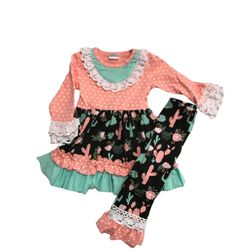 Cactus Cowgirl Pink and Mint Cowgirl Ruffles Girls Trendy Top Shirt Outfit from The Rustic Shop