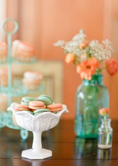 Color palette - love the teal bottles. Aqua/turquoise and peach/coral colors Table Decorations, Wedding Dresses, Furniture, Home Decor, Bride Dresses, Homemade Home Decor, Wedding Gowns, Table Centerpieces, Home Furniture
