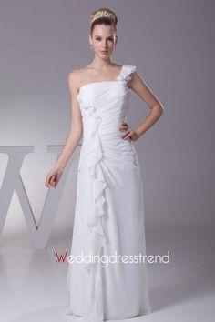 Fashionable Sheath/Column One Shoulder Ruffles Wedding Dress
